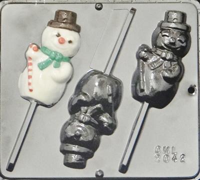 2042 Snowman Lollipop Chocolate Candy Mold